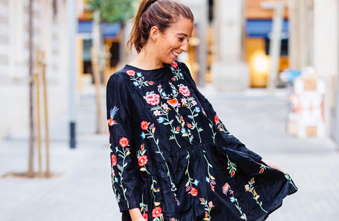 style by bru vestido bordado con flores de zara